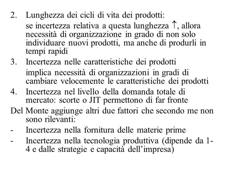 2. Lunghezza dei cicli di vita dei prodotti: