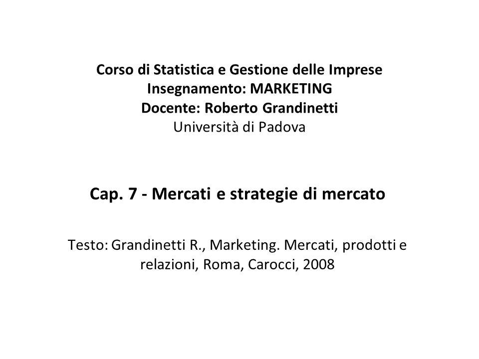 Cap. 7 - Mercati e strategie di mercato