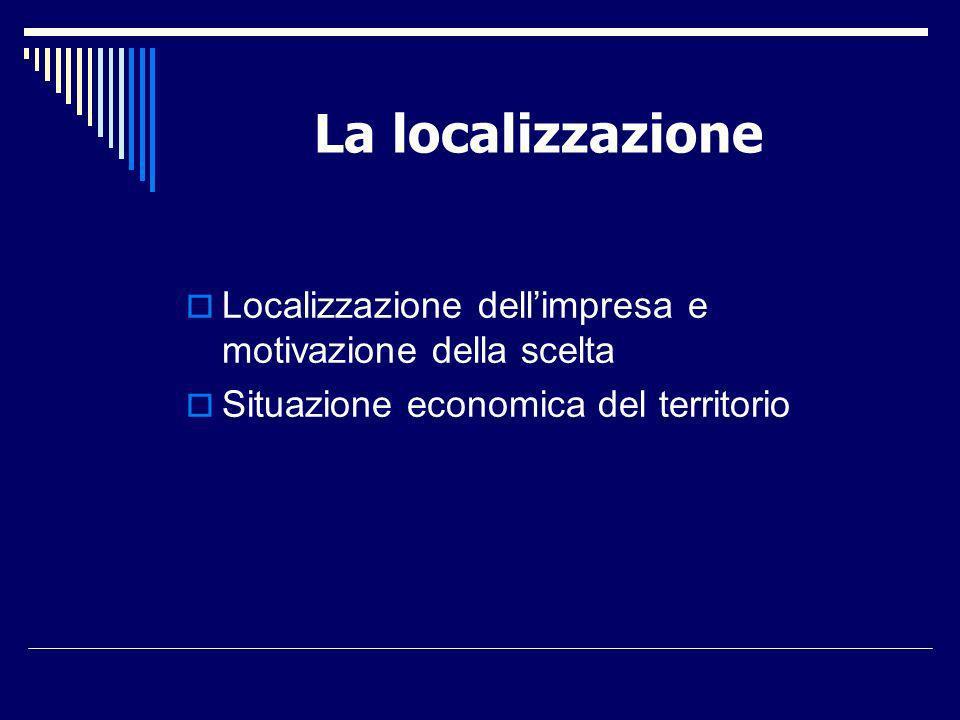La localizzazione Localizzazione dell'impresa e motivazione della scelta.