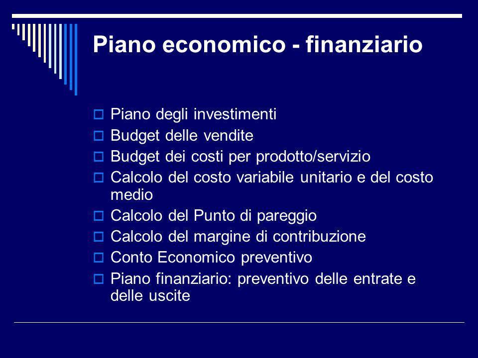 Piano economico - finanziario