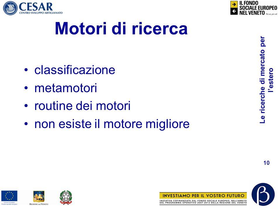 Motori di ricerca classificazione metamotori routine dei motori
