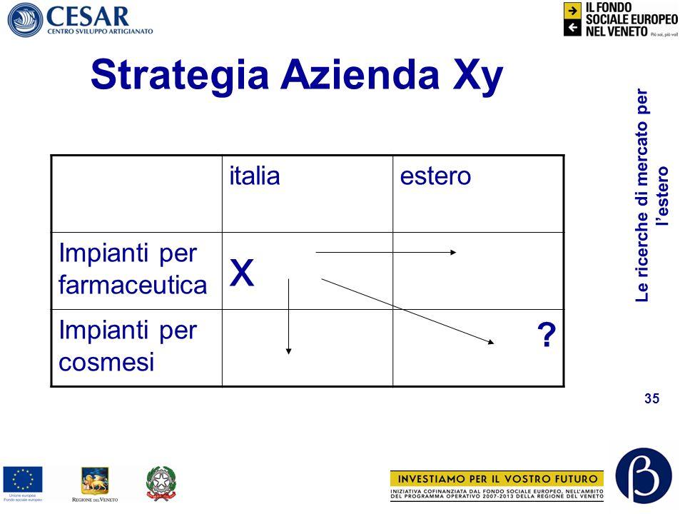 x Strategia Azienda Xy italia estero Impianti per farmaceutica