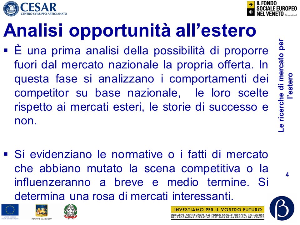 Analisi opportunità all'estero