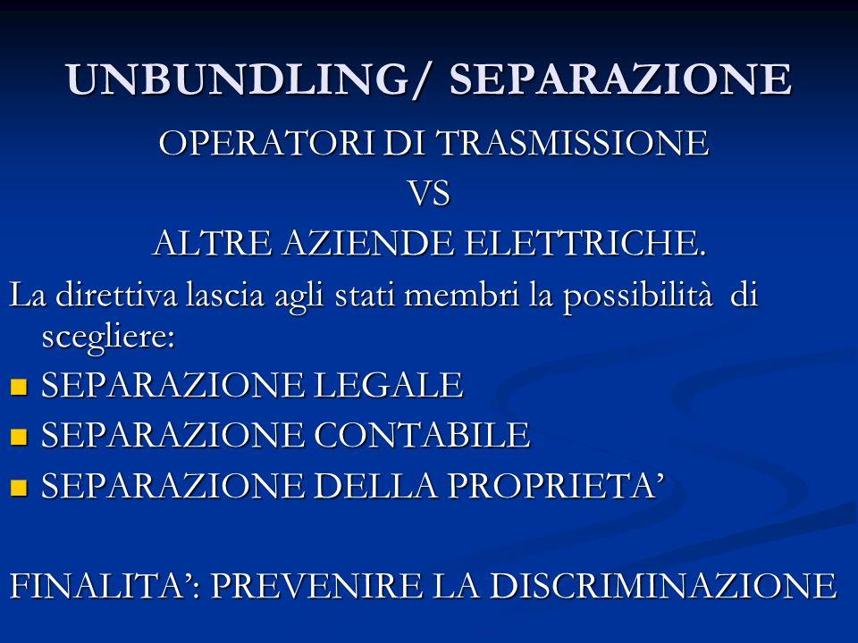 UNBUNDLING/ SEPARAZIONE