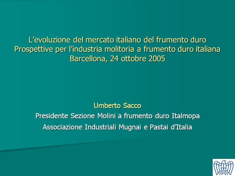 L'evoluzione del mercato italiano del frumento duro Prospettive per l'industria molitoria a frumento duro italiana Barcellona, 24 ottobre 2005