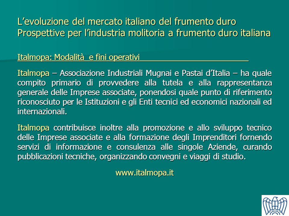 L'evoluzione del mercato italiano del frumento duro Prospettive per l'industria molitoria a frumento duro italiana