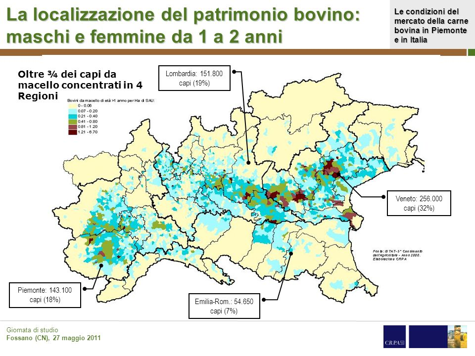 La localizzazione del patrimonio bovino: maschi e femmine da 1 a 2 anni