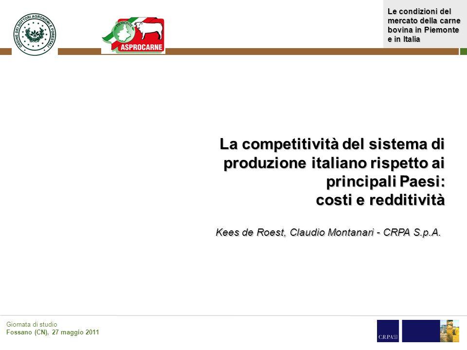 La competitività del sistema di produzione italiano rispetto ai principali Paesi: costi e redditività