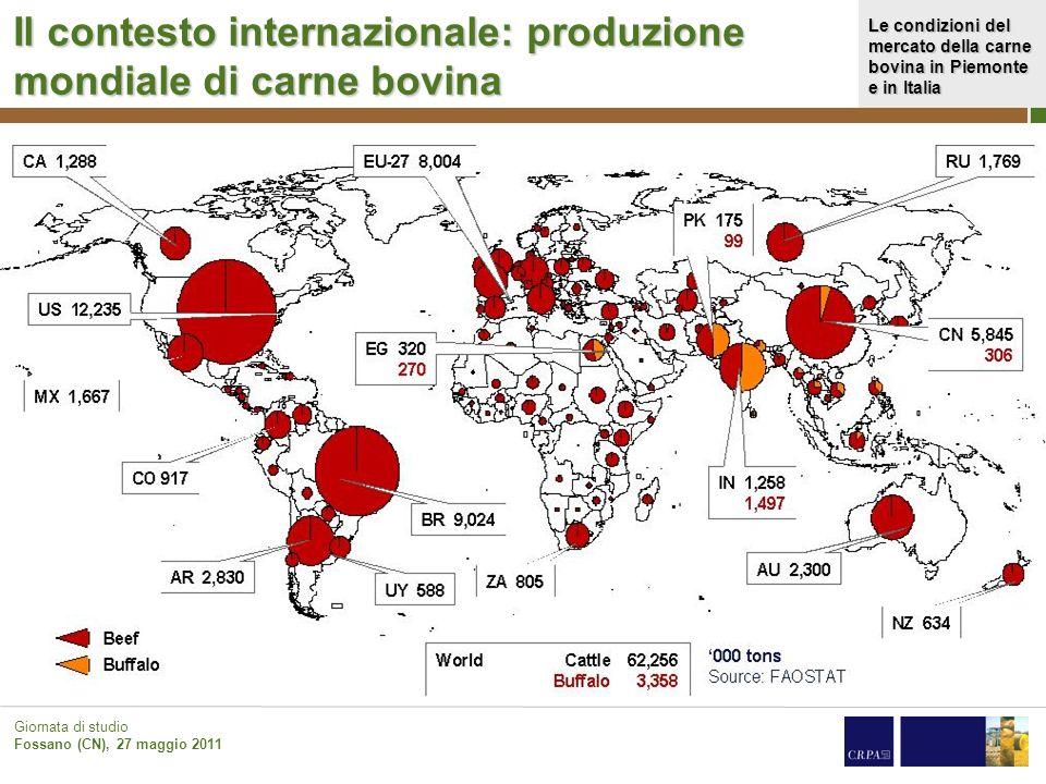 Il contesto internazionale: produzione mondiale di carne bovina