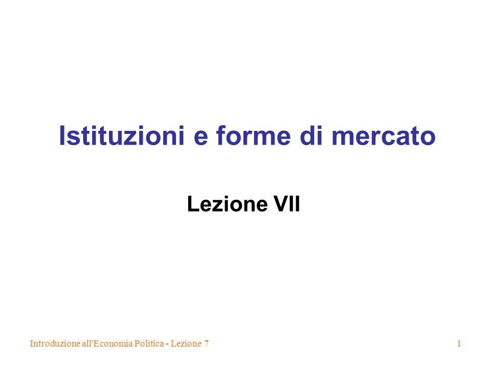 Istituzioni e forme di mercato
