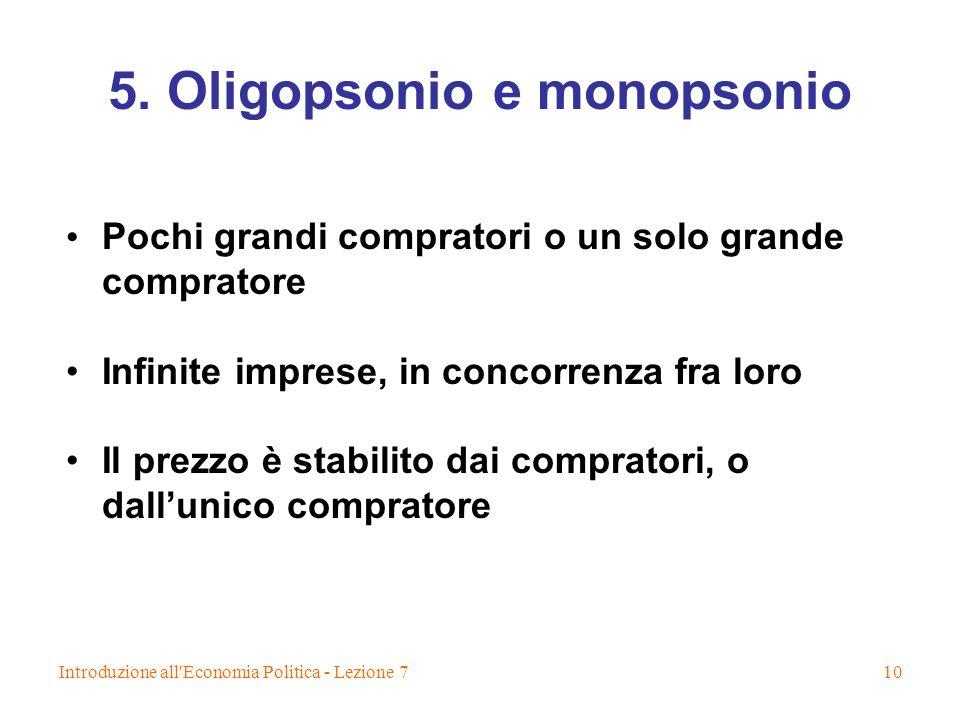 5. Oligopsonio e monopsonio