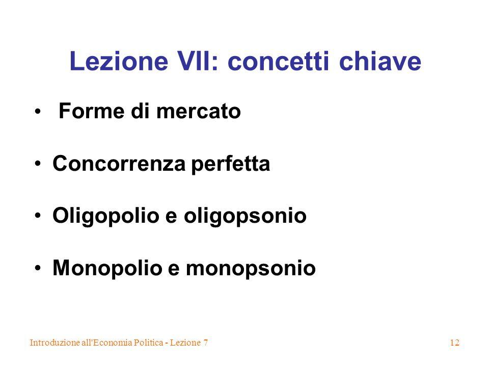 Lezione VII: concetti chiave