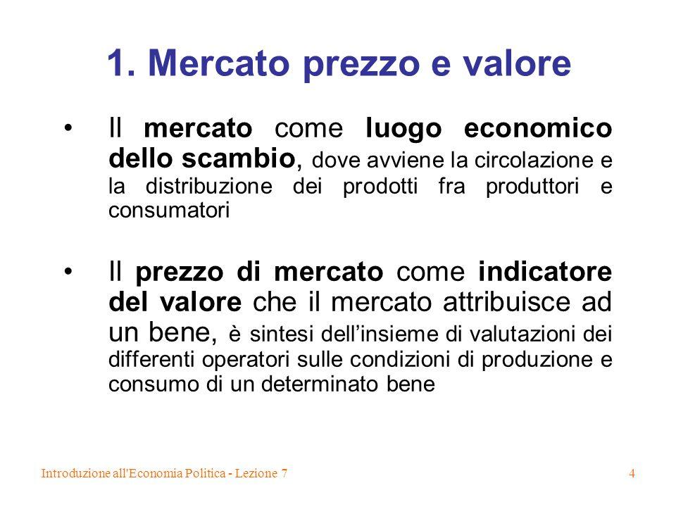 1. Mercato prezzo e valore