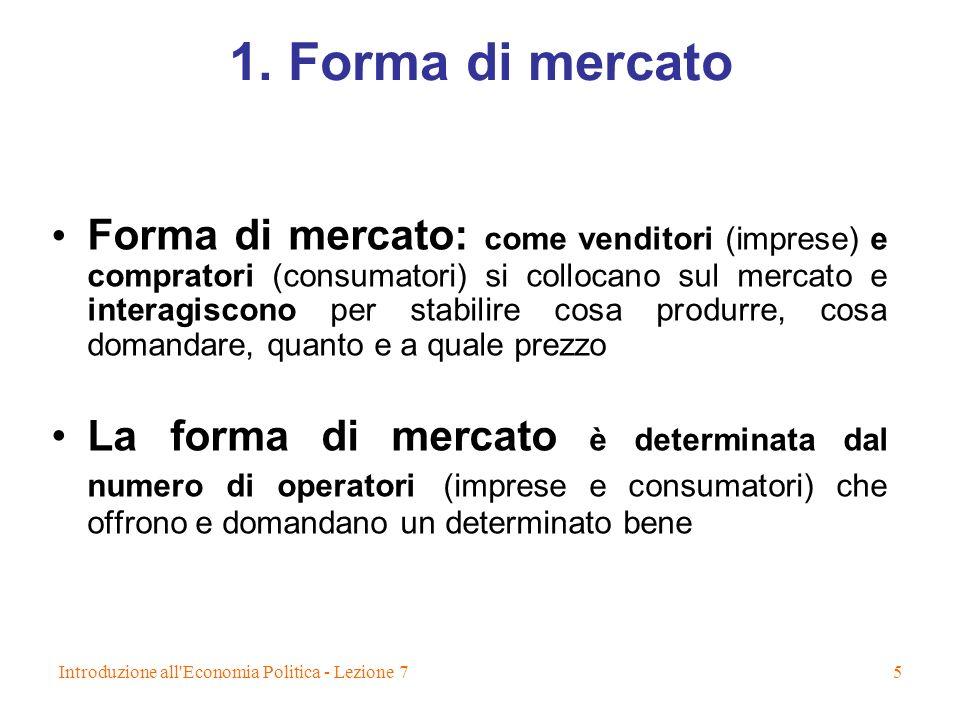 1. Forma di mercato