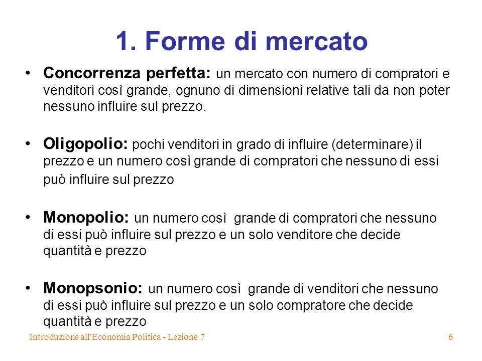 1. Forme di mercato