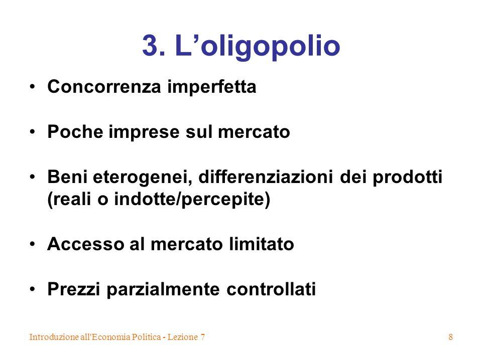 3. L'oligopolio Concorrenza imperfetta Poche imprese sul mercato