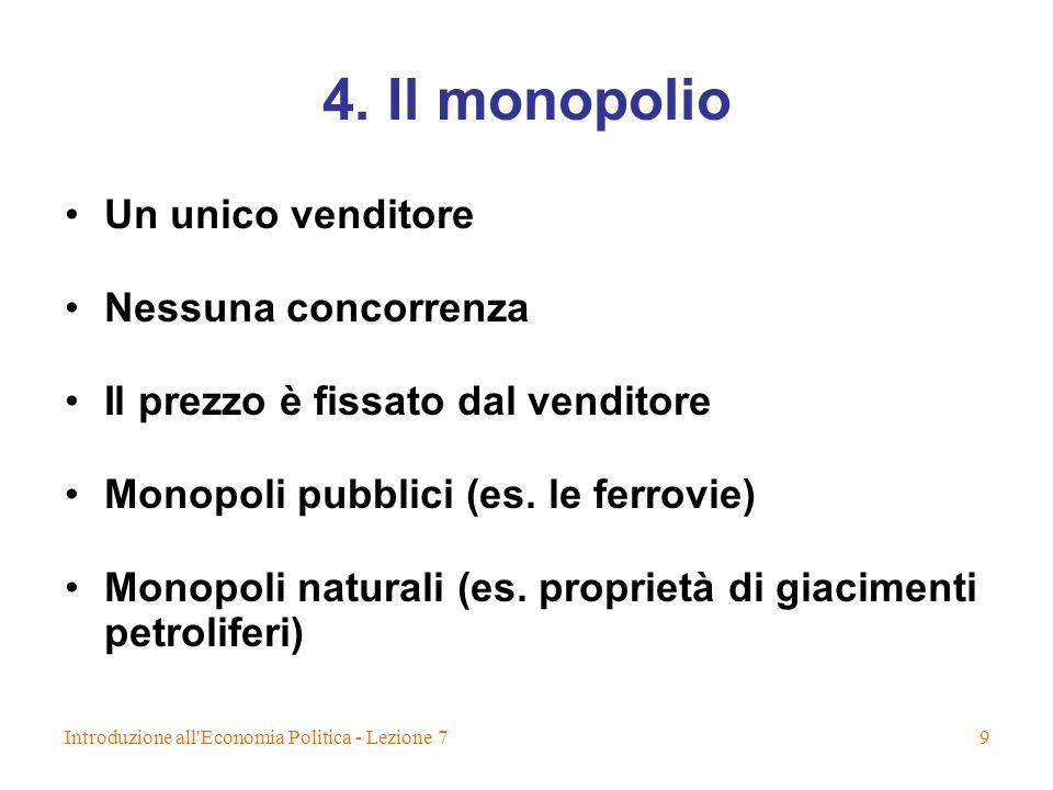 4. Il monopolio Un unico venditore Nessuna concorrenza