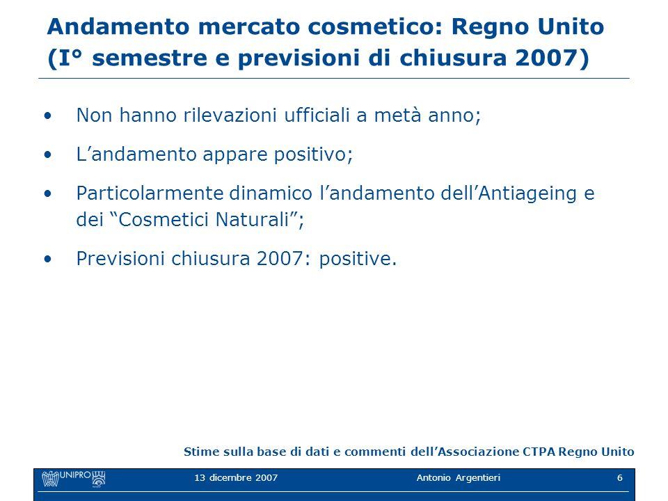 Andamento mercato cosmetico: Regno Unito (I° semestre e previsioni di chiusura 2007)