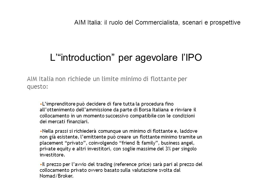 L' introduction per agevolare l'IPO