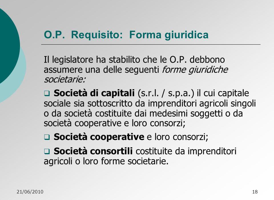 O.P. Requisito: Forma giuridica