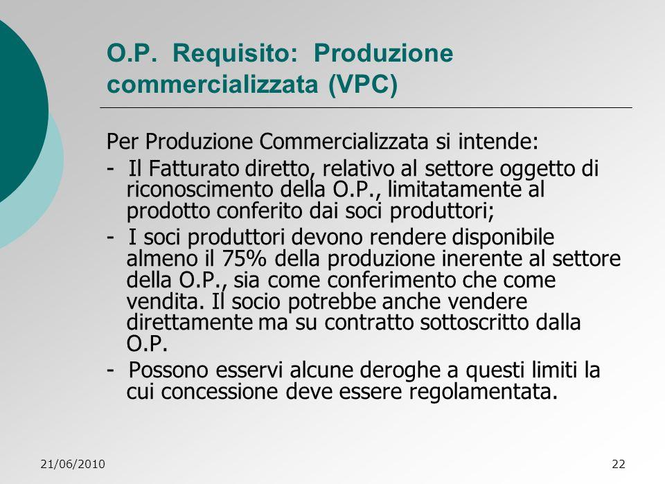 O.P. Requisito: Produzione commercializzata (VPC)