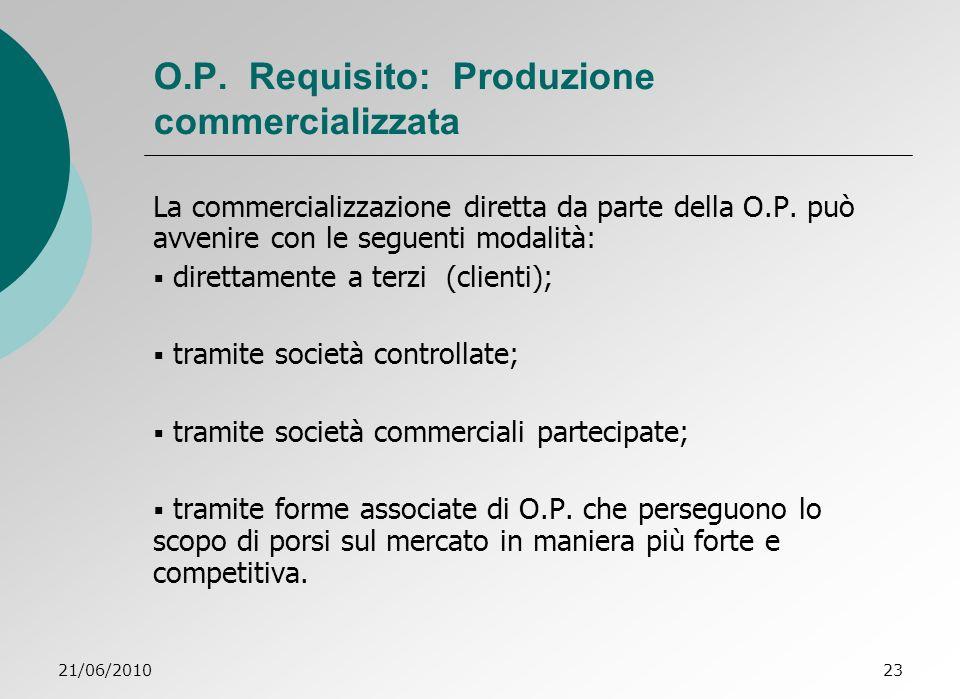O.P. Requisito: Produzione commercializzata