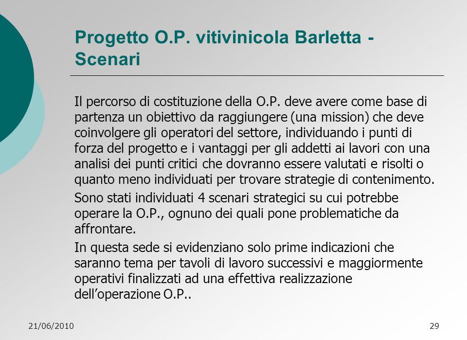 Progetto O.P. vitivinicola Barletta - Scenari