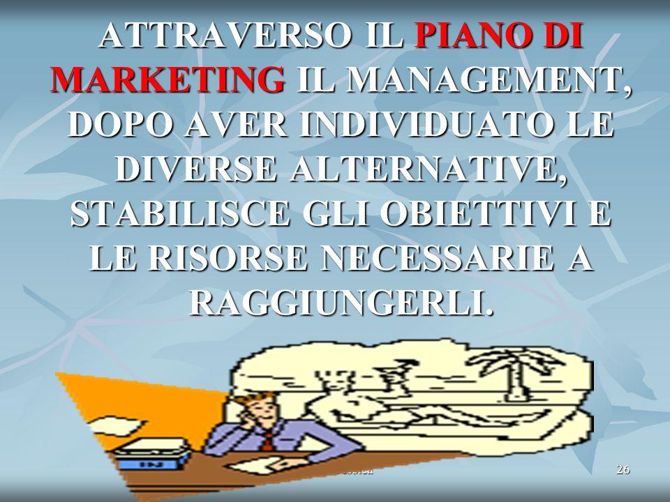 ATTRAVERSO IL PIANO DI MARKETING IL MANAGEMENT, DOPO AVER INDIVIDUATO LE DIVERSE ALTERNATIVE, STABILISCE GLI OBIETTIVI E LE RISORSE NECESSARIE A RAGGIUNGERLI.
