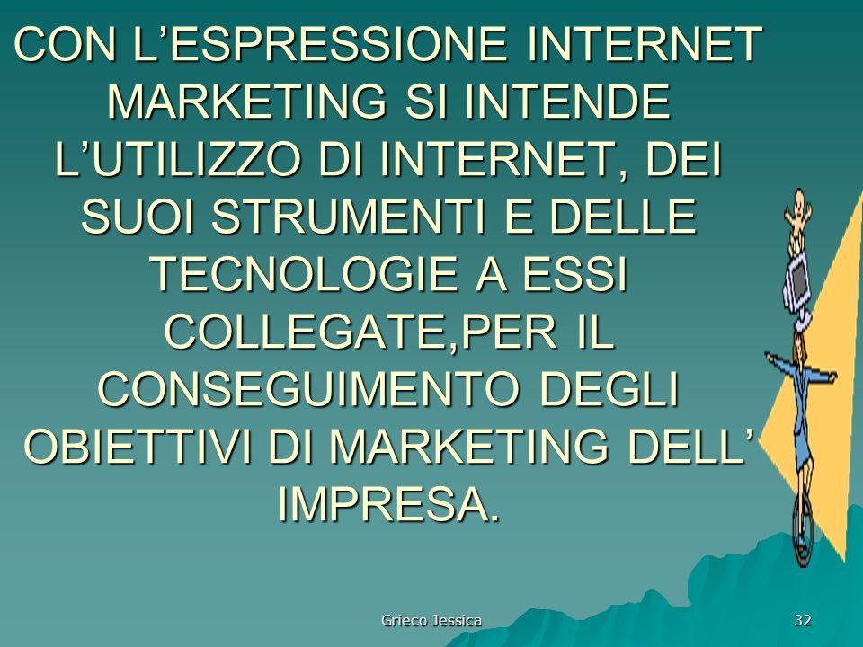 CON L'ESPRESSIONE INTERNET MARKETING SI INTENDE L'UTILIZZO DI INTERNET, DEI SUOI STRUMENTI E DELLE TECNOLOGIE A ESSI COLLEGATE,PER IL CONSEGUIMENTO DEGLI OBIETTIVI DI MARKETING DELL' IMPRESA.