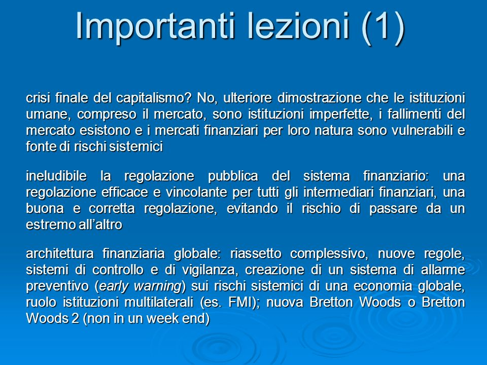 Importanti lezioni (1)