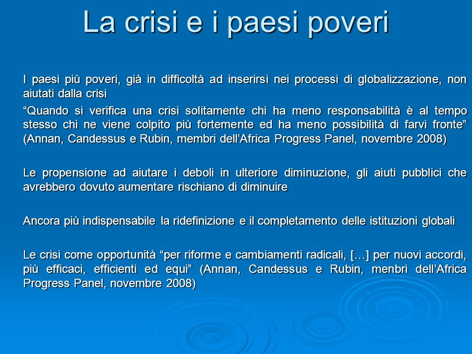 La crisi e i paesi poveri