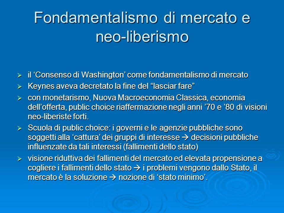 Fondamentalismo di mercato e neo-liberismo