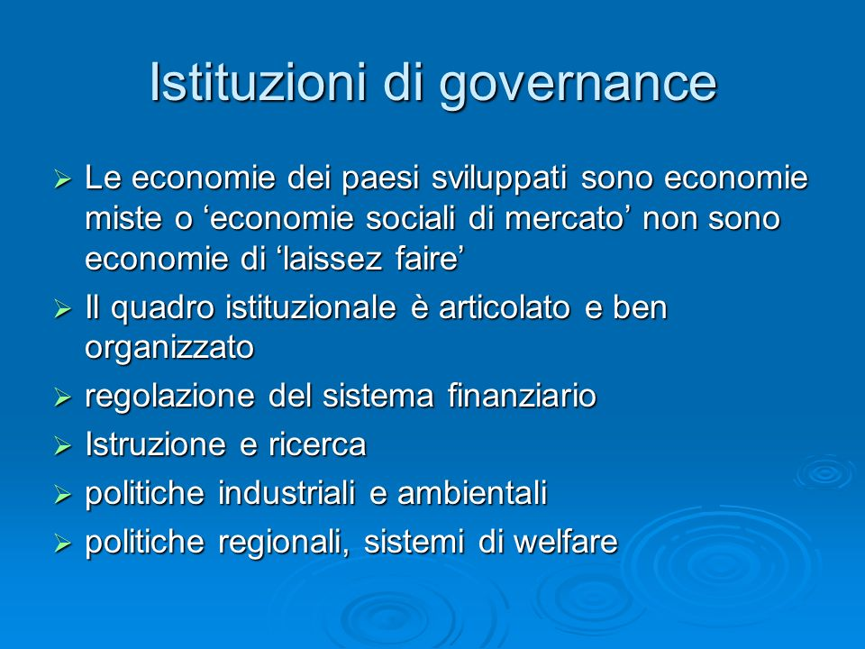 Istituzioni di governance