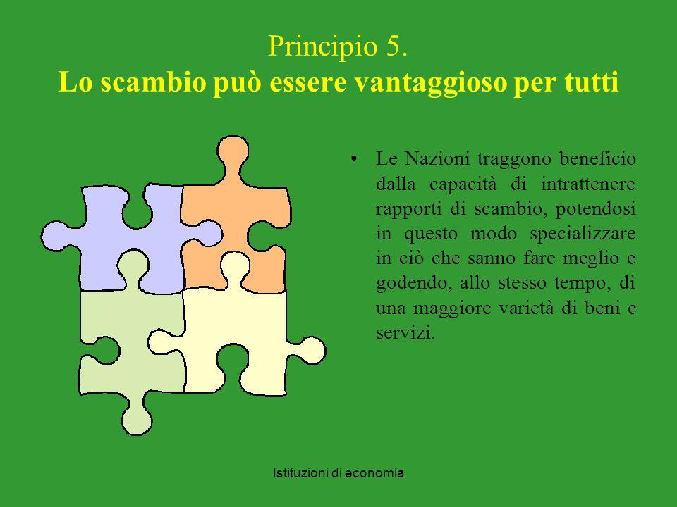 Principio 5. Lo scambio può essere vantaggioso per tutti
