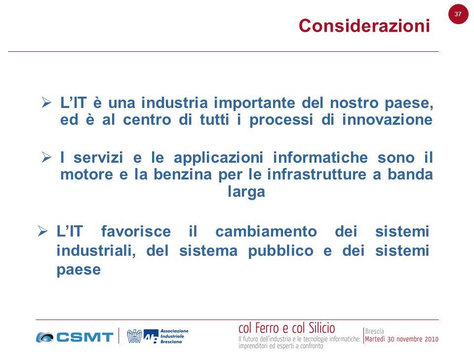 Considerazioni L'IT è una industria importante del nostro paese, ed è al centro di tutti i processi di innovazione.