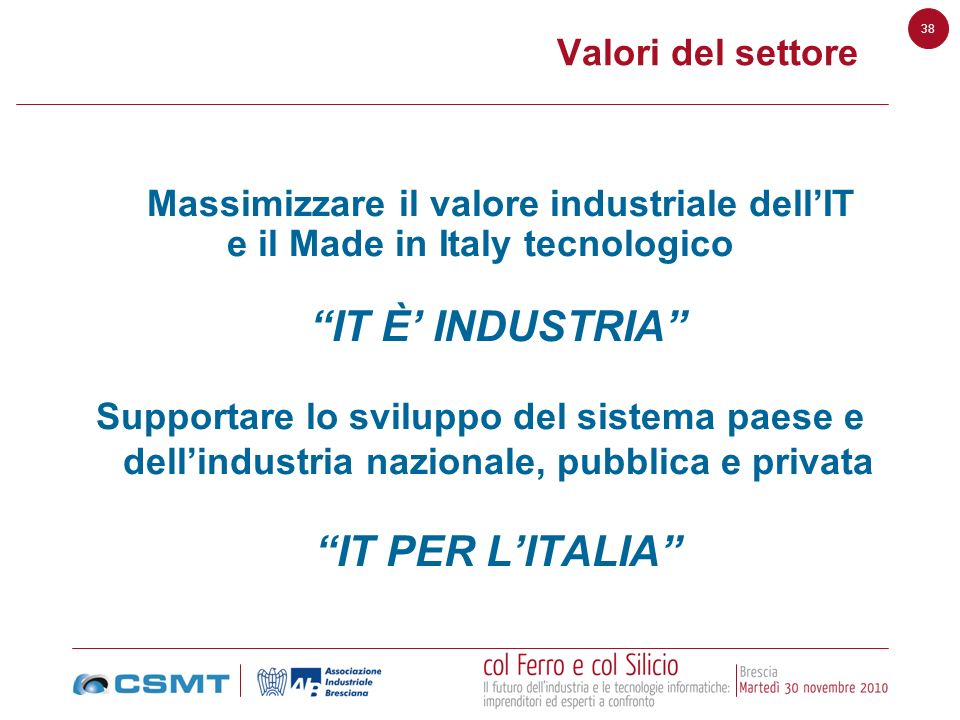 IT È' INDUSTRIA IT PER L'ITALIA