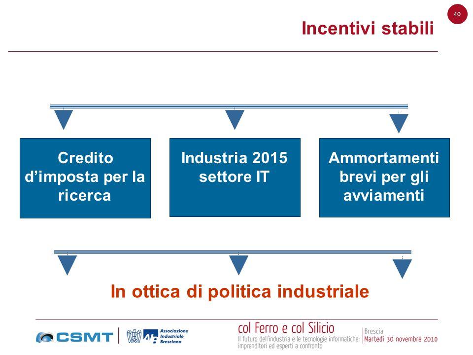 In ottica di politica industriale