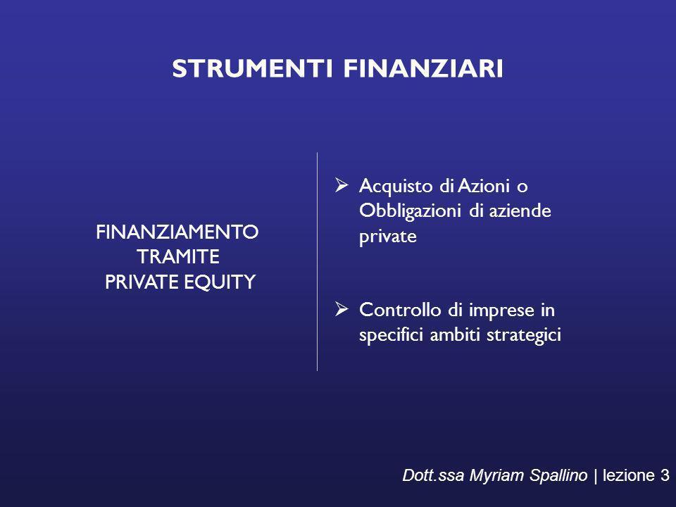 STRUMENTI FINANZIARI FINANZIAMENTO. TRAMITE. PRIVATE EQUITY. Acquisto di Azioni o Obbligazioni di aziende private.