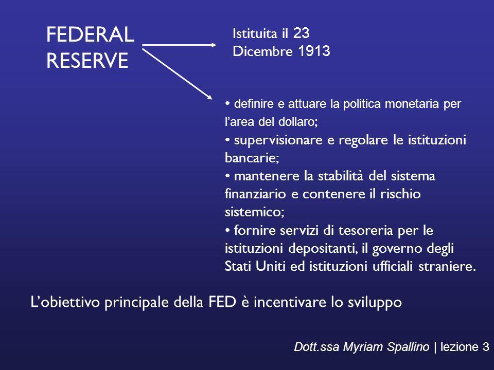FEDERAL RESERVE Istituita il 23 Dicembre 1913. definire e attuare la politica monetaria per l'area del dollaro;