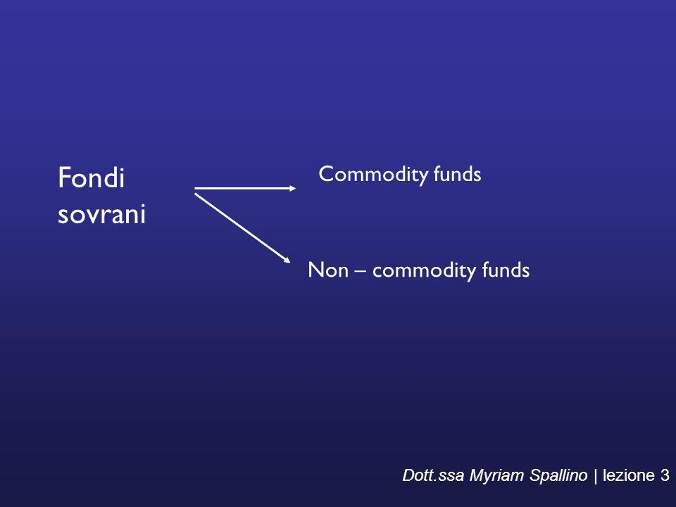 Fondi sovrani Commodity funds Non – commodity funds