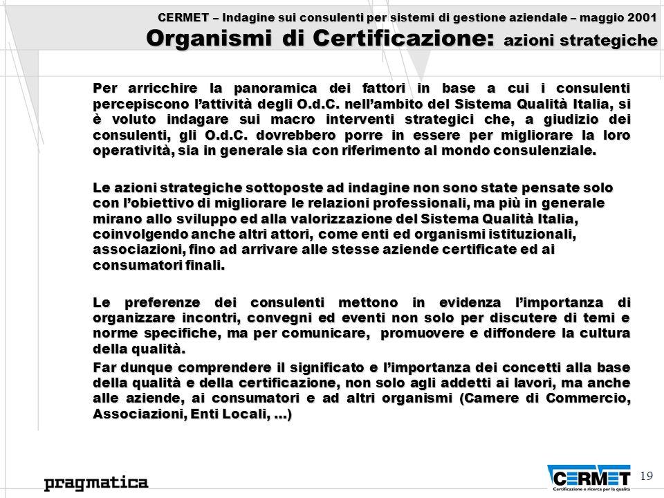 CERMET – Indagine sui consulenti per sistemi di gestione aziendale – maggio 2001 Organismi di Certificazione: azioni strategiche