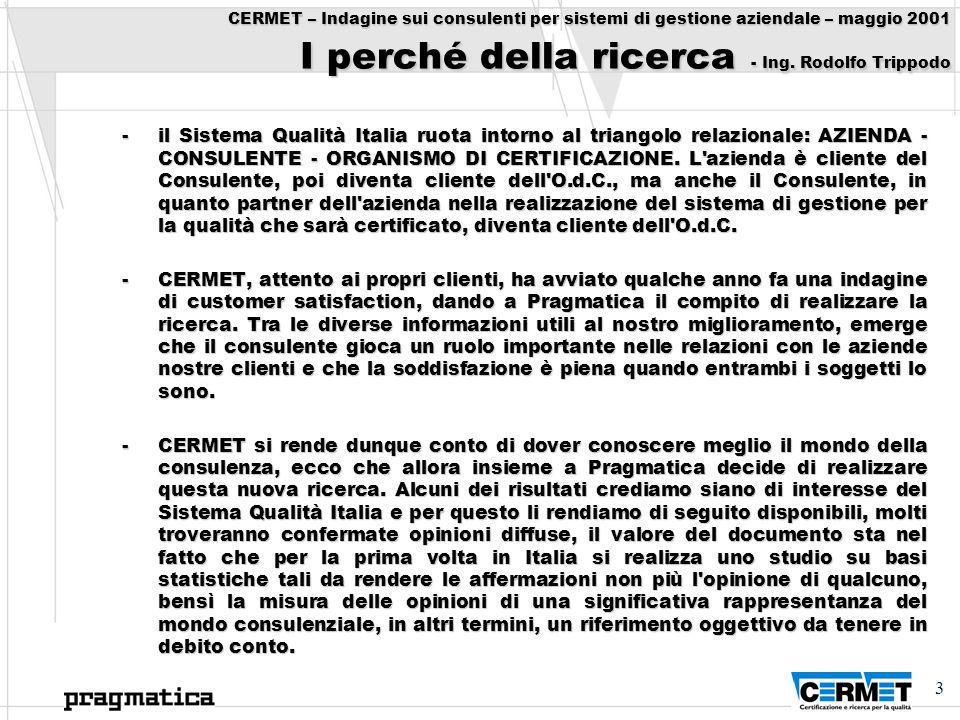 CERMET – Indagine sui consulenti per sistemi di gestione aziendale – maggio 2001 I perché della ricerca - Ing. Rodolfo Trippodo