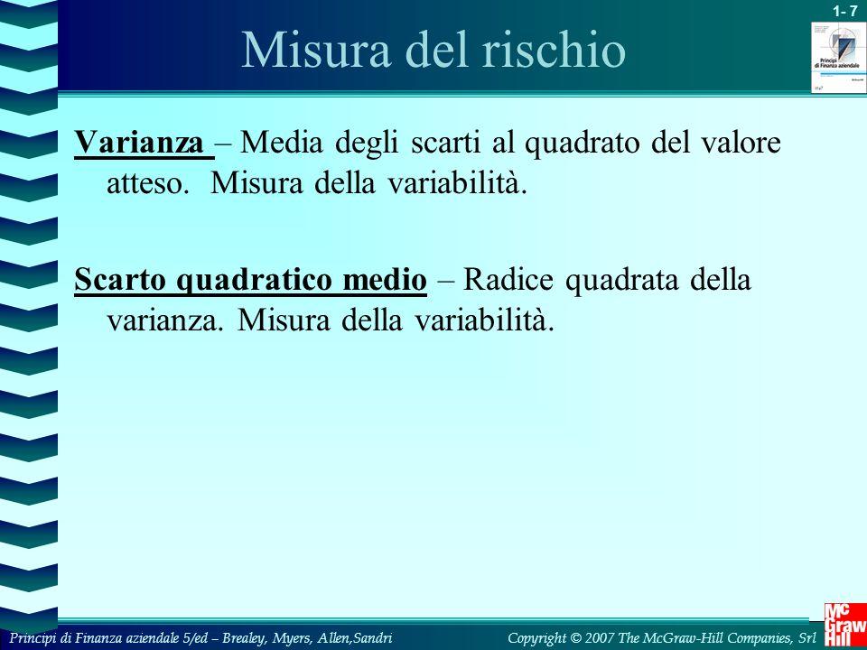 Misura del rischio Varianza – Media degli scarti al quadrato del valore atteso. Misura della variabilità.