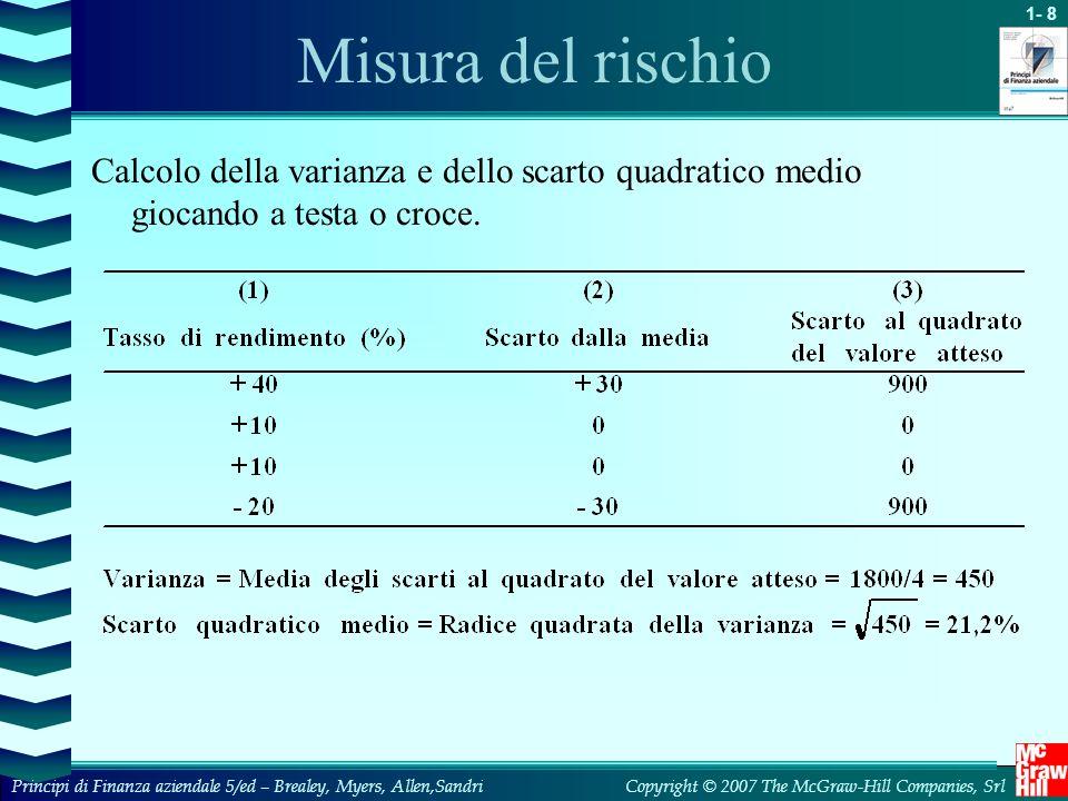 Misura del rischio Calcolo della varianza e dello scarto quadratico medio giocando a testa o croce.