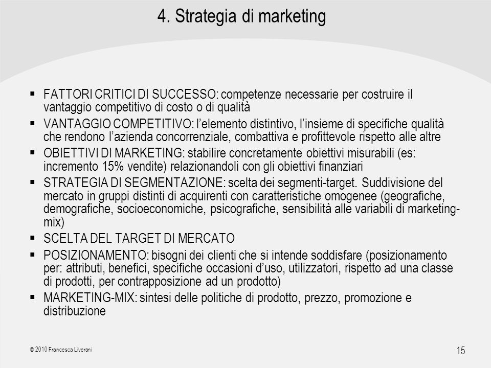 4. Strategia di marketing