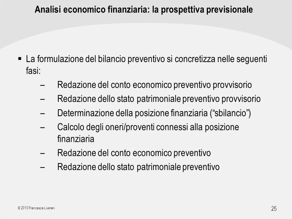 Analisi economico finanziaria: la prospettiva previsionale