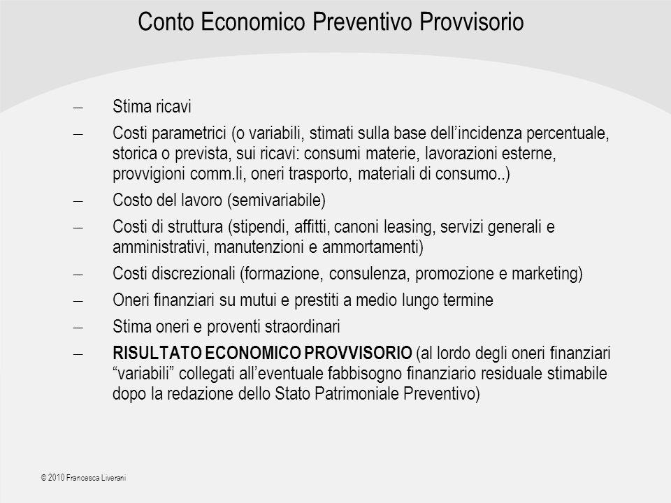 Conto Economico Preventivo Provvisorio