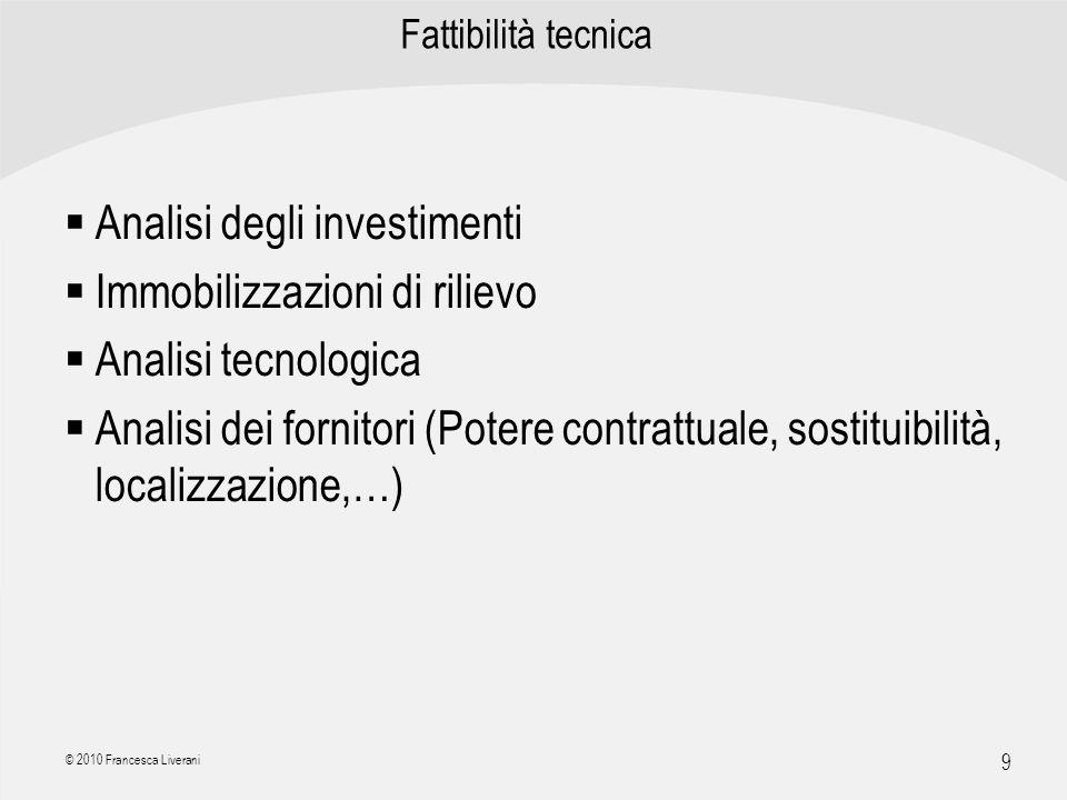 Analisi degli investimenti Immobilizzazioni di rilievo