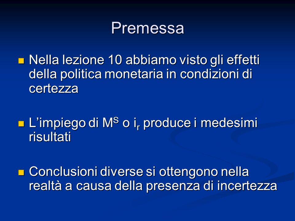 Premessa Nella lezione 10 abbiamo visto gli effetti della politica monetaria in condizioni di certezza.