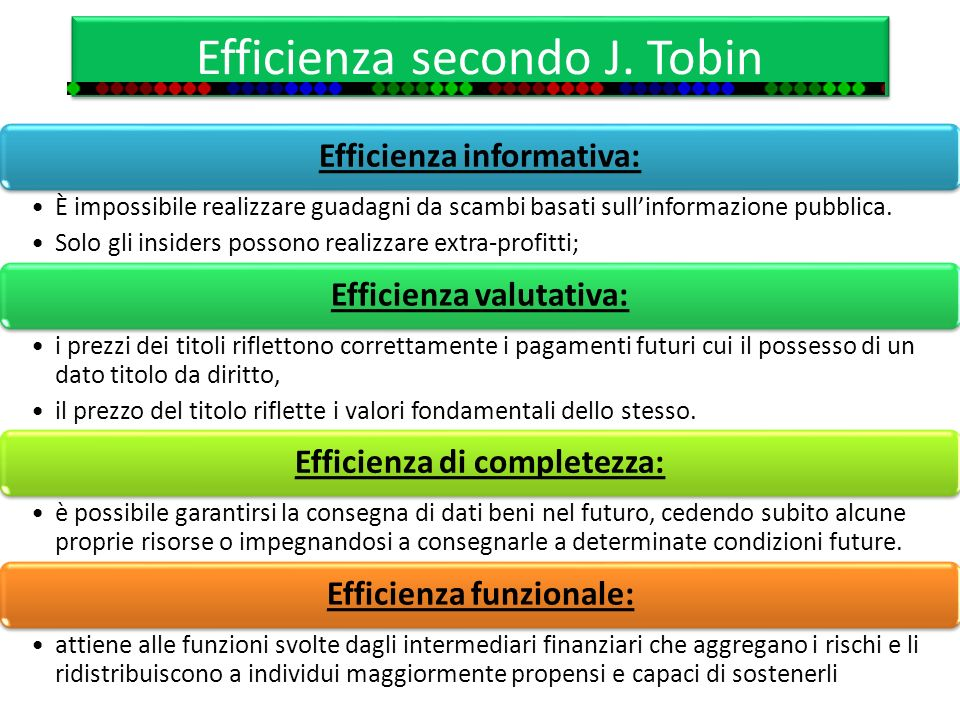 Efficienza secondo J. Tobin